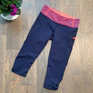 Lululemon navy-pink ruched crop-stripe waistband-6